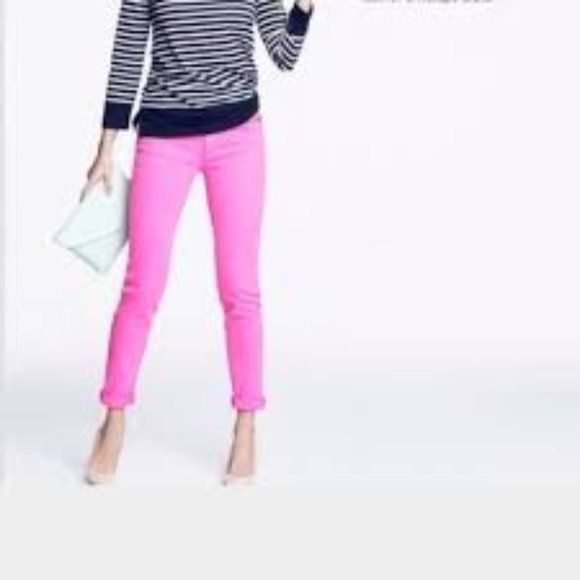 J. Crew Neon Pink Toothpick Ankle Jeans